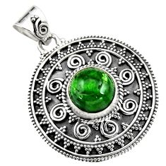 4.96cts natural green chrome diopside 925 sterling silver pendant jewelry r16294