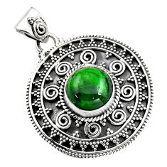 5.05cts natural green chrome diopside 925 sterling silver pendant jewelry r16296