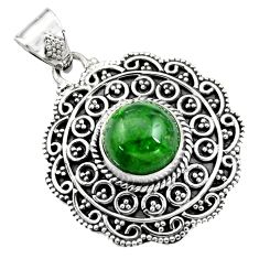 5.18cts natural green chrome diopside 925 sterling silver pendant jewelry r16297