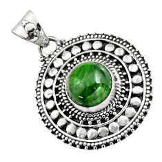 925 sterling silver 5.35cts natural green chrome diopside pendant jewelry r16299