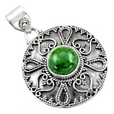 5.51cts natural green chrome diopside 925 sterling silver pendant jewelry r16300