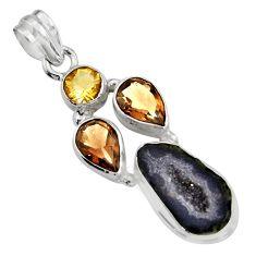 925 silver 15.39cts natural brown geode druzy smoky topaz citrine pendant r16423