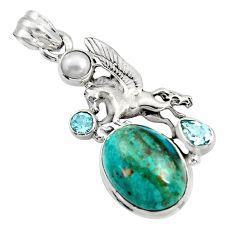 13.79cts natural blue opaline topaz pearl 925 silver unicorn pendant r16427