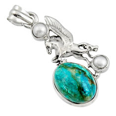 11.97cts natural blue opaline pearl 925 sterling silver unicorn pendant r16434
