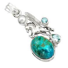 13.77cts natural blue opaline topaz pearl 925 silver unicorn pendant r16438