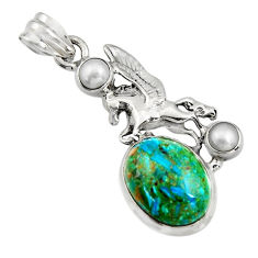 11.97cts natural blue opaline pearl 925 sterling silver unicorn pendant r16439