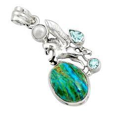 925 silver 13.71cts natural blue opaline topaz pearl unicorn pendant r16440
