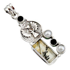 12.62cts natural brown dendritic quartz onyx 925 sterling silver pendant r16446
