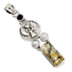 11.95cts natural dendritic quartz onyx 925 silver eagle charm pendant r16450