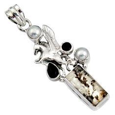 11.95cts natural brown dendritic quartz onyx 925 silver unicorn pendant r16452