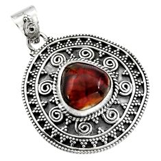 6.32cts natural multicolor mexican fire agate 925 sterling silver pendant r16466