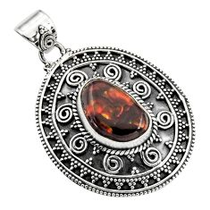 925 sterling silver 7.55cts natural multicolor mexican fire agate pendant r16467