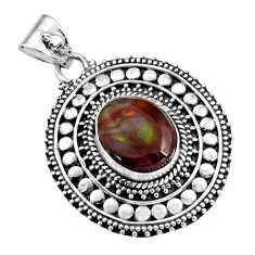 5.62cts natural multicolor mexican fire agate 925 sterling silver pendant r16468
