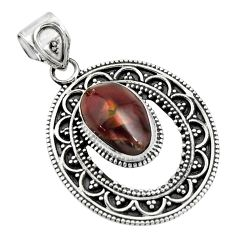 5.12cts natural multicolor mexican fire agate 925 sterling silver pendant r16469