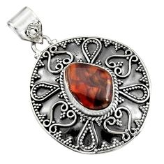 925 silver 7.36cts natural multi color mexican fire agate fancy pendant r16470