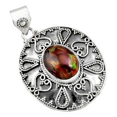 6.32cts natural multicolor mexican fire agate 925 sterling silver pendant r16471