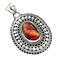 6.53cts natural multicolor mexican fire agate 925 sterling silver pendant r16472