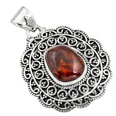 6.72cts natural multicolor mexican fire agate 925 sterling silver pendant r16473