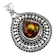 925 sterling silver 6.72cts natural multicolor mexican fire agate pendant r16474