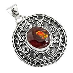 6.53cts natural multicolor mexican fire agate 925 sterling silver pendant r16475