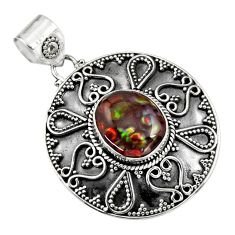 6.01cts natural multicolor mexican fire agate 925 sterling silver pendant r16476