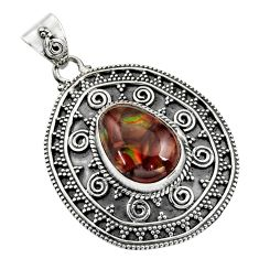 925 sterling silver 1.97cts natural multicolor mexican fire agate pendant r16477