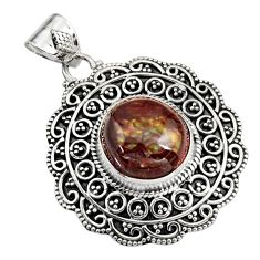 5.98cts natural multicolor mexican fire agate 925 sterling silver pendant r16478