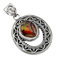 5.68cts natural multicolor mexican fire agate 925 sterling silver pendant r16479