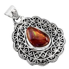 925 sterling silver 6.02cts natural multicolor mexican fire agate pendant r16480
