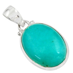 14.68cts natural green peruvian amazonite 925 sterling silver pendant r16483
