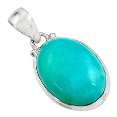 14.68cts natural green peruvian amazonite 925 sterling silver pendant r16486