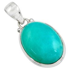 14.72cts natural green peruvian amazonite 925 sterling silver pendant r16488