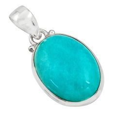 14.68cts natural green peruvian amazonite 925 sterling silver pendant r16489