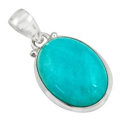 14.18cts natural green peruvian amazonite 925 sterling silver pendant r16491