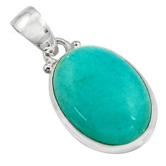 14.10cts natural green peruvian amazonite 925 sterling silver pendant r16494