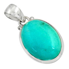 925 sterling silver 14.10cts natural green peruvian amazonite pendant r16499