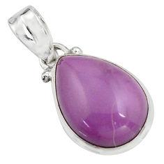 11.73cts natural purple phosphosiderite (hope stone) 925 silver pendant r16501