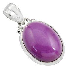 13.15cts natural purple phosphosiderite (hope stone) 925 silver pendant r16502