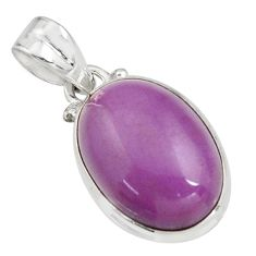 12.58cts natural purple phosphosiderite (hope stone) 925 silver pendant r16505