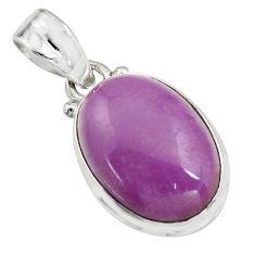12.22cts natural purple phosphosiderite (hope stone) 925 silver pendant r16512
