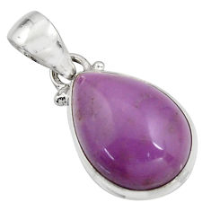 11.57cts natural purple phosphosiderite (hope stone) 925 silver pendant r16513