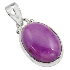 925 silver 12.55cts natural purple phosphosiderite (hope stone) pendant r16515