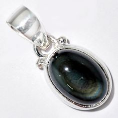 5.87cts natural rainbow obsidian eye 925 sterling silver pendant jewelry r16522