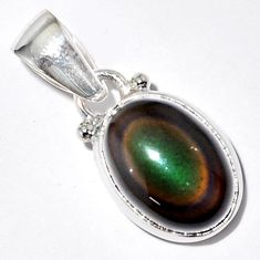 5.92cts natural rainbow obsidian eye 925 sterling silver pendant jewelry r16525