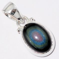 5.92cts natural rainbow obsidian eye 925 sterling silver pendant jewelry r16526