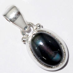 925 sterling silver 5.54cts natural rainbow obsidian eye pendant jewelry r16530