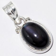 925 sterling silver 5.54cts natural rainbow obsidian eye pendant jewelry r16533