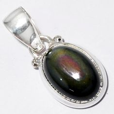 5.51cts natural rainbow obsidian eye 925 sterling silver pendant jewelry r16534