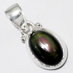 925 sterling silver 5.54cts natural rainbow obsidian eye oval pendant r16536
