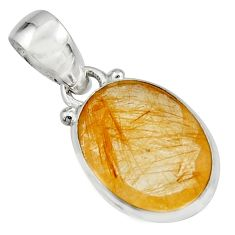 10.62cts natural golden rutile 925 sterling silver pendant jewelry r16541